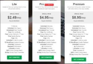 GreenGeeks WP pricing plan