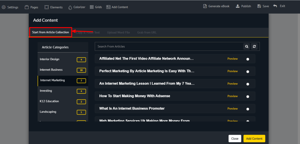 Add content from selection