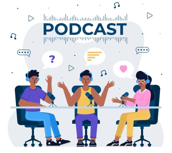 Three persons hosting a podcast