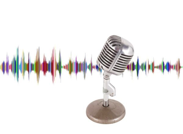 Microphone with sound waves