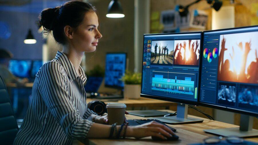 Woman doing video editing