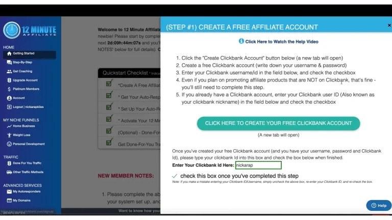 12 minute affiliate-Create account