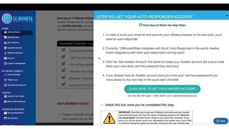 12 Minute Affiliate-Step 2 Get an Autoresponder