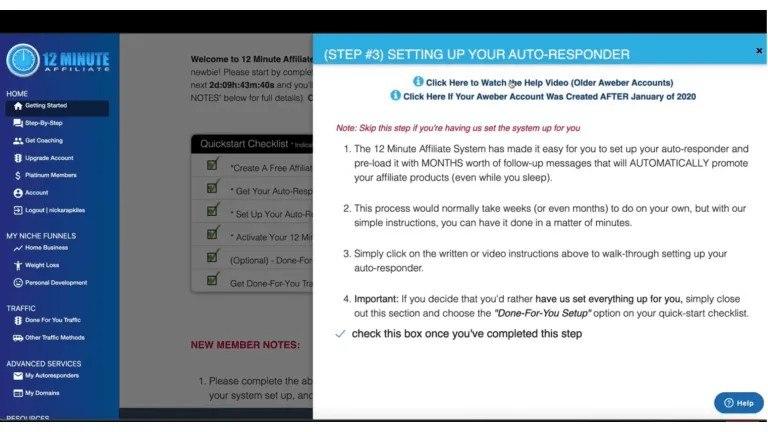 12 Minute Affiliate-Step 3 Setup your Autoresponder