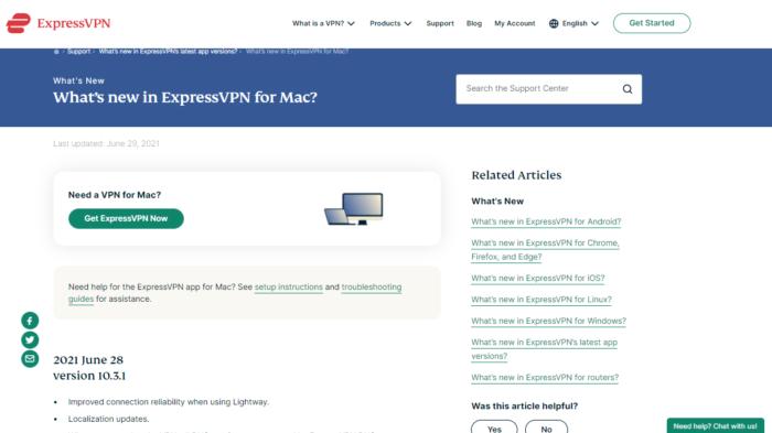 ExpressVPN version release