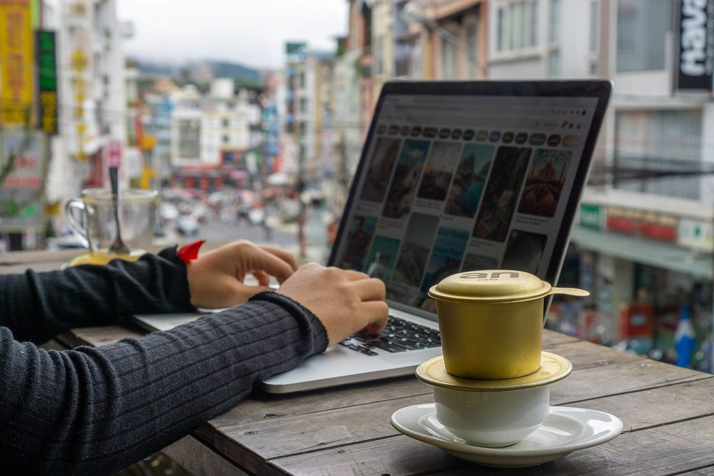 Digital Nomad with laptop