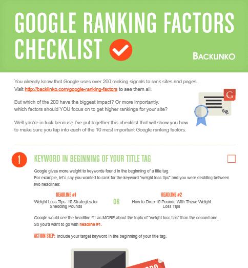 Lead Magent checklist from backlinko