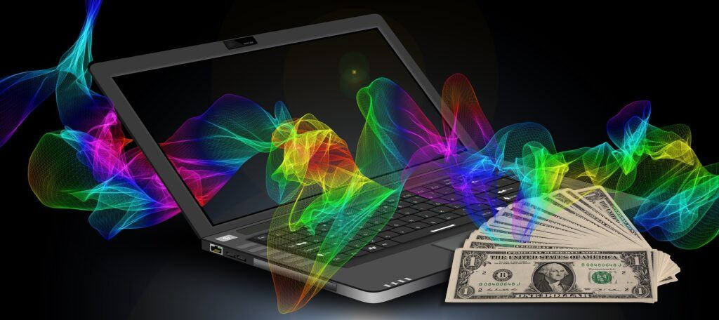 Dollar and a laptop