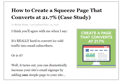 Case Study - How to Create a Squeeze Page That Converts at 21.7%